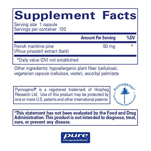 Pure Encapsulations - Pycnogenol 50 mg - Hypoallergenic Supplement to Promote Vascular Health and Provide Antioxidant Support - 120 Capsules by Pure Encapsulations (Image #1)