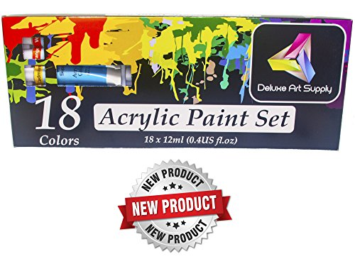 Artists Acrylic Paint Set - 18 Vibrant Colors, 12ml aluminum tubes, Professional Quality, Rich Pigments, for Beginners, Students and Professionals - by Deluxe Art Supply