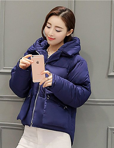 Hooded Solid Pink White Long Coat Women's Blue Street L Sleeve chic YRF Green Cute Down Black tw7fqtB5