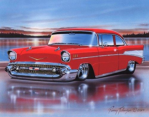 [1957 Chevy Bel Air 2 Door Sedan Classic Car Art Print Red 11x14] (Bel Air 2 Door Sedan)