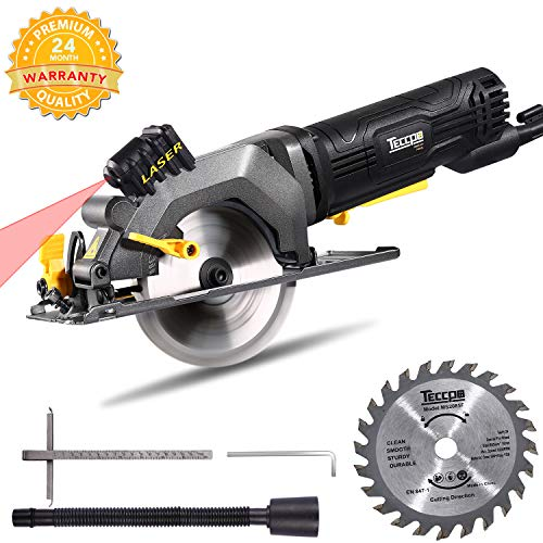 Circular Saw, TECCPO 4-1/2? 3500 RPM 4 Amp Compact Circular Saw with Laser Guide, 24T Carbide Tipped Blade, Scale Ruler, Pure Copper Motor, Max Cutting Depth 1-11/16'' (90°), 1-1/8'' (45°) - TAMS24P