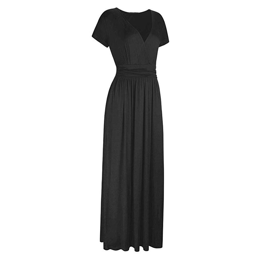 Respctful✿Women Summer Dress Short Sleeve Striped Chiffon Maxi Dresses Sexy V Neck Evening Cocktail Party Long Dress Black by Respctful Women's Clothing (Image #4)