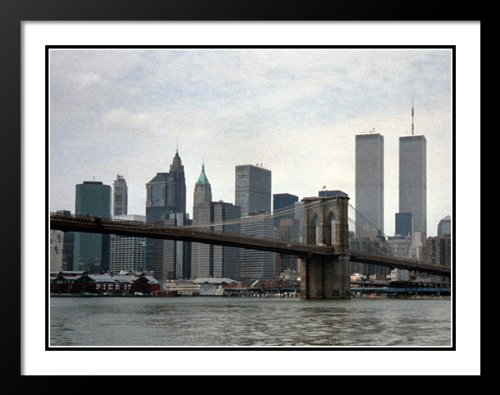 New York City Twin Tower - New York City Twin Towers Skyline Large 20x23 Framed and Double Matted Photo