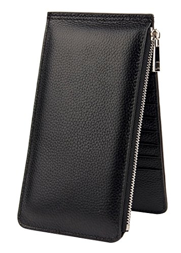 Heshe Womens Leather Wallets RFID Blocking Wallet Ladies Clutch with 20 Credit Card Slots (Black)