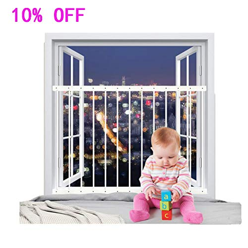 Fairy Baby Child Window Guards for Children Safety Window Gate Security Bars White,Fit 31.8-36.6 Inches -