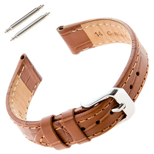 Gilden Ladies 12-14mm Gator Grain Brown Leather Watch Band F30-1314 (14 Millimeter end Width, Silver-Tone Buckle) 14mm Ladies Watch Band