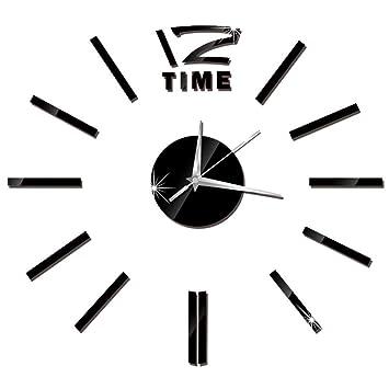 reloj de pared adhesivo digitales con números romanos pegatina de pared de espejo 3D para hogar ...