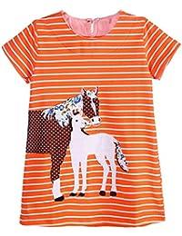 Toddler Girl Short Sleeve Casual Cartoon Striped Applique T-Shirt Dress