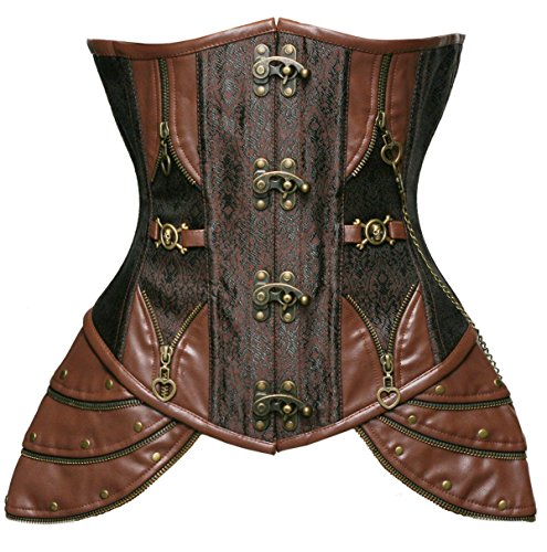 Bslingerie Gothic Punk Heavy Duty Brown Faux Leather Steel Boned Underbust Corset (L, Retro Brown) -