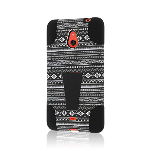 Nokia Lumia 1320 Case, MPERO IMPACT X Series Dual Layered Tough Durable Shock Absorbing Silicone Polycarbonate Hybrid Kickstand Case for Lumia 1320 - Black Aztec