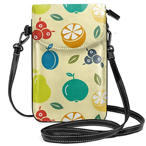 (Small Cell Phone Purse For Women Leather Fruits Insides Card Slots Crossbody Bags Wallet Shoulder)