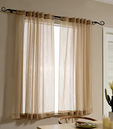 Semi Sheer Curtains 63 Inch Length for Bedroom by MYSKY HOME Rod Pocket and Back Tap Crushed Design Sheer Curtain Panels for Living Room (Mocha, 51