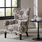 Contemporary High Wing Back Floral Print Beige Swoop Armchair with Wood Legs - Includes ModHaus Living Pen