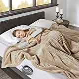 Beautyrest Microlight to Berber Elect Electric Blanket with Two 20 Heat Level Setting Controllers, King, Tan