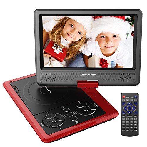 DBPOWER 9.5'' Tragbarer DVD-Player, 5 Stunden Akku, schwenkbaren Bildschirm, unterstützt SD-Karte und USB, mit Spiele-Joystick, Auto-Ladegerät--Rote