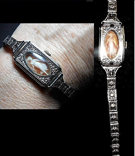"(Flapper CAMEO in Edwardian White Gold Fill Watch Case Band, 1920s Flapper Watch Case Filigree Band w/ Charleston Cameo ""Time to Dance"" OOAK)"