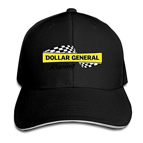 Pro Style Dollar General Racing Car Adjustable Peak Sandwich Caps Black