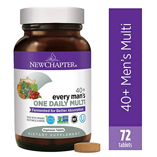 New Chapter Men's Multivitamin, Every Man's One Daily 40+, Fermented with Probiotics + Saw Palmetto + B Vitamins + Vitamin D3 + Organic Non-GMO Ingredients, 72 Count (Best Vitamins For Women Over 50 Years Old)