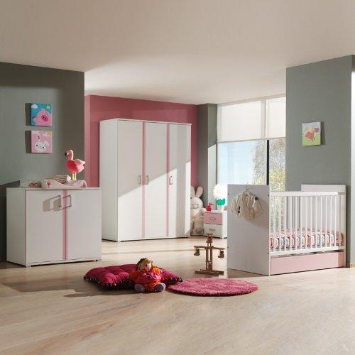 Babyzimmer weiß rosa Babybett Gitterbett Kleiderschrank Babymöbel Wickelauflage