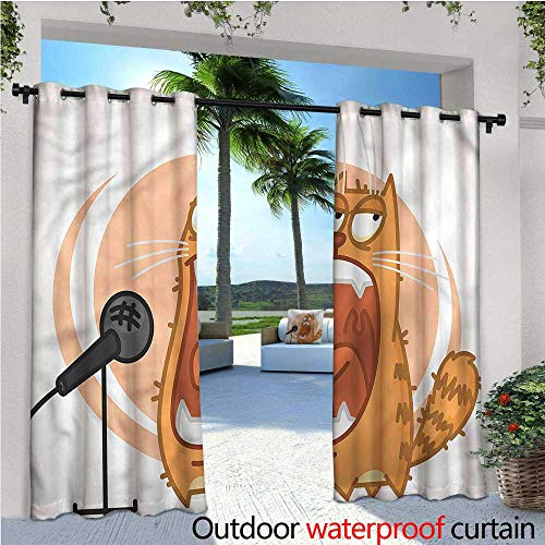 warmfamily Animal Indoor/Outdoor Single Panel Print Window Curtain Rock Cat Singing Microphone Silver Grommet Top Drape W120 x L108 ()