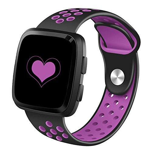 DEKER Sport Bands Compatible for Fitbit Versa Bands Women Men, Small Large Breathable Soft Fitness Sport Silicone Strap Replacement Accessories Wristbands (Black/Purple, Large)