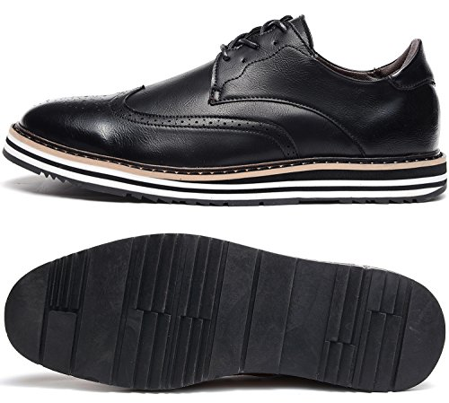 Odema Hombres Classic Leather Oxford Wingtip Lace Up Dress Zapatos Novio Oxfords Negro