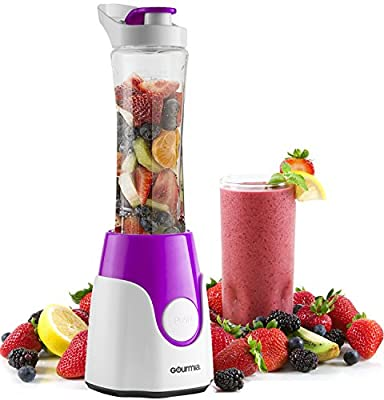 Gourmia GPB250P BlendMate Smoothie Plus Personal Blender with Travel Sport Bottle and Dual Action Blade 250W, Purple E-Recipe Book Included,110v