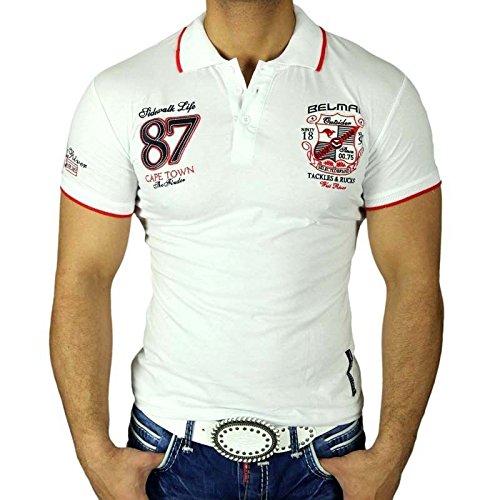 BAXBOY Herren Kurzarm Party Club Hemd Polo T-Shirt Weiß Poloshirt WOW JP-161, Größen:XL