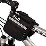 Winterworm ROSWHEEL BOI Black 2L 600D Multifunctional Mountain Bike Bicycle Cycling Frame Pannier Pack Front Tube Bag Bags (Black)