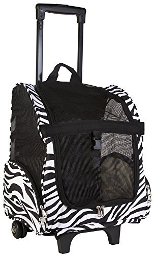World Traveler Black Zebra Print Rolling Pet Carrier Travel Backpack