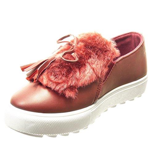 Angkorly - Sneaker Da Donna - Scarpe Con Plateau - Slip-on - Pelliccia - Bobble - Tacco Alto Con Zeppa Tacco A Spillo 3,5 Cm - Rosso