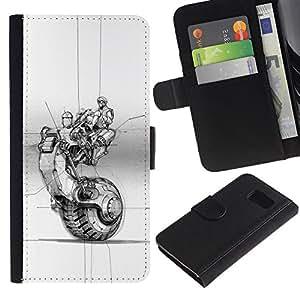 KingStore / Leather Etui en cuir / Samsung Galaxy S6 / Roue d'encre de tatouage Art