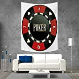 smallbeefly Poker Tournament Tapestry Table Cover Bedspread Beach Towel Casino Chip with Poker Word in Center Rich Icon Card Suits Print Dorm Decor Beach Blanket 54W x 84L INCH Vermilion Army Green