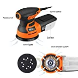 "5"" Random Orbit Sander with 12Pcs Sandpaper, 6 Variable Speed 3.0A/350W/13000 OPM Orbital Sander with High Performance Dust Collection System, Ideal for the DIY and Home Decoration - PRS01A"