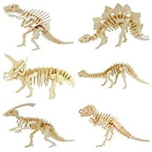 3D Wooden Simulation Animal Dinosaur Assembly Puzzle Model Toy for Kids and Adults,6-piece Set