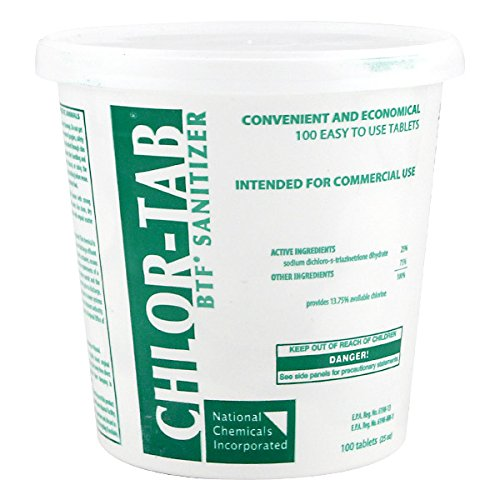 Chlor-Tab Bar Sink Glassware Sanitizer - Bucket of 100 Tablets (Tab Chlor)