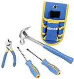 GreatNeck 21035 Essentials 4 Piece Homeowers Tool Set with Bonus Belt Pouch