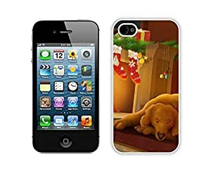 Personalize offerings Christmas Time Stocking and Humble Dog around Fireplace White iPhone 4 4S Case 1