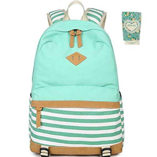 Green Striped Backpack - Hibelief Striped Laptop Backpacks School Bags Teen Girls Travel Daypacks (Green)