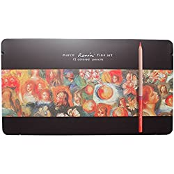 Huhuhero Marco Renior 72 Color Oil Based Colored Pencils for Artist Sketching/ Art Writing/ Artwork/ Adults Coloring Book with Manual Sharpener in Metal Tin Case