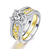 Bonlavie 2.6 Ct Infinity Cubic Zirconia 18K Gold Plated 925 Sterling Silver Wedding Band Engagement Ring Set