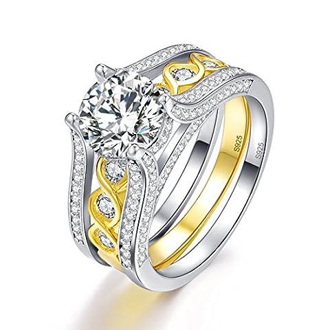 Bonlavie 2.6 Ct Round Cut Cubic Zirconia Infinity Engagement Ring Wedding Band Bridal Set for Women Size (Cubic Zirconia Gold Rings)