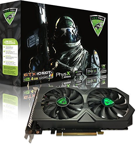 ViewMax NVIDIA GeForce GTX 1050 Ti 4GB GDDR-5 128-Bit PCI-E DUAL VORTEX GAMING COOLER DVI-D HDMI CYBORG ASSASSIN EDITION (Dual Video Cards Sli)