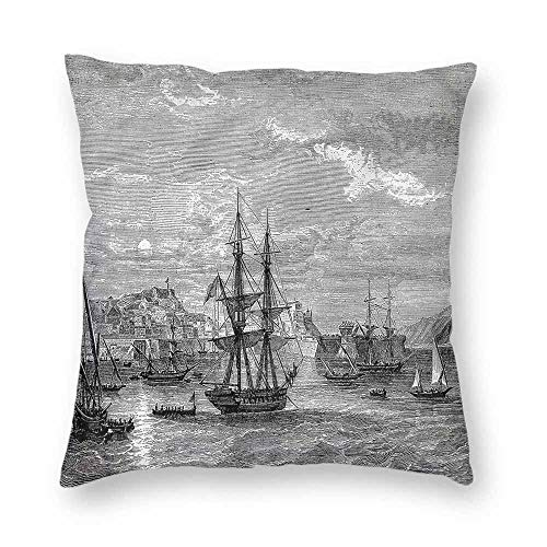 clayii Antique Pattern Throw Pillow History of France Elba for Home Sofa Bedding 23x23 Inch