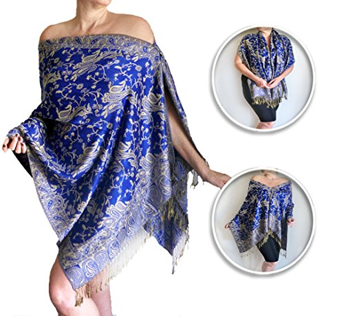 Plus Size Blue Shawl Floral Print Wedding Wrap Lightweight Women's Poncho By ZiiCi