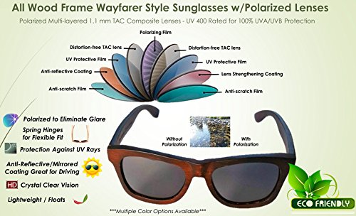 Wooden Polarized Sunglasses - Handmade Solid Real Dumu Wood Wayfarer Style w/Bamboo Case - 100% UV Protection - for Men and Women by Pelican Sunwear (brown, green) by Pelican Sunwear (Image #3)