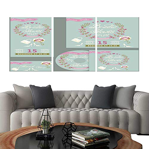 UHOO Frameless Paintings 3 Pieces Painting CollectionCute Bridal Shower Design Template Set with Flowers. Hotel Office Decor Gift 24