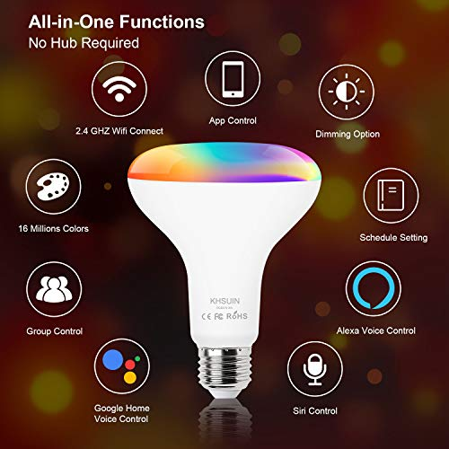 [2020 Upgrade] Smart Light Bulb,Color Changing Light Bulb Compatible with Alexa and Google Assistant(No Hub Required),2.4G WiFi E26 13W(100w Equivalent) BR30 Smart Bulb,4 Pack