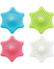 سدادة حوض الاستحمام من KABB لحوض الاستحمام والمطبخ، مصفاة بالوعة المطاطية، على شكل نجم البحر السداسي (4 حزمات)، 4، 4 ألوان