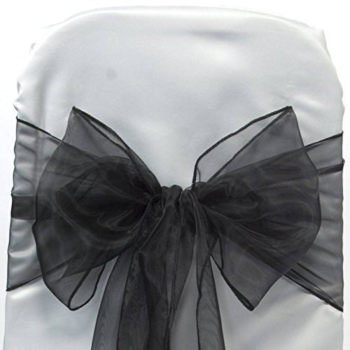 Back Sash - Set of 10 Chair Bows Sashes Tie Back Decorative Item Cover ups For Wedding Reception Events Banquets Chairs Decoration Black